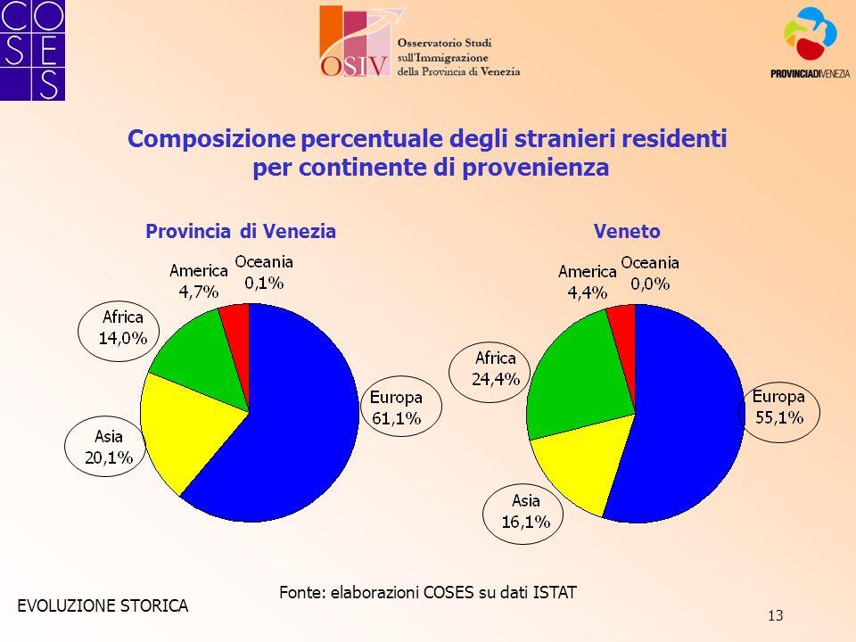 13 Composizione percentuale degli stranieri residenti per continente di provenienza Fonte: elaborazioni COSES su dati ISTAT Provincia di VeneziaVeneto