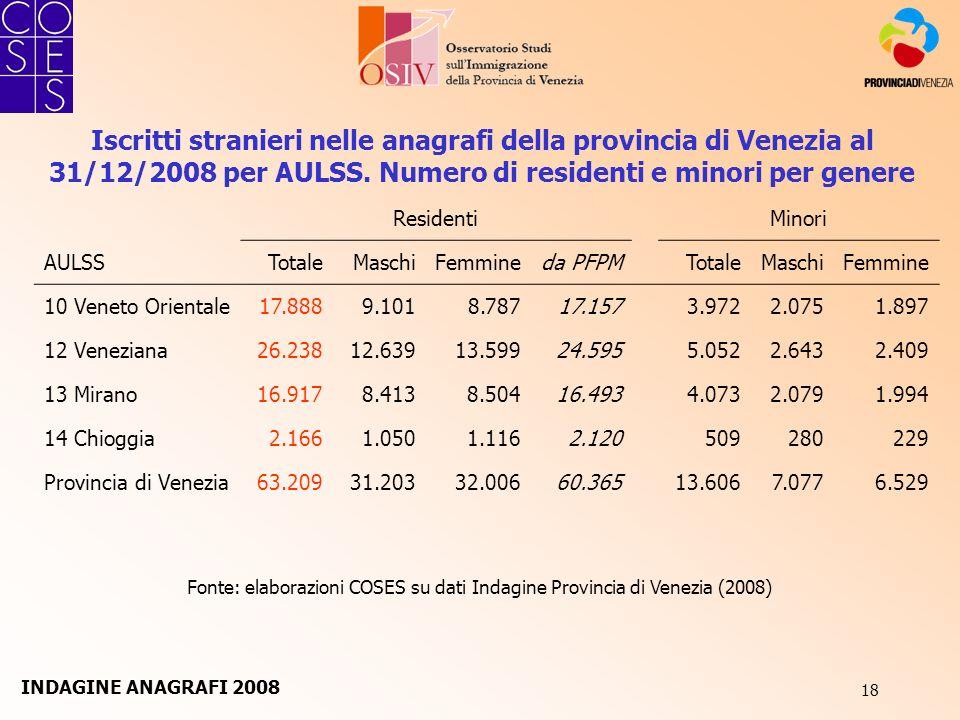 18 Fonte: elaborazioni COSES su dati Indagine Provincia di Venezia (2008) Iscritti stranieri nelle anagrafi della provincia di Venezia al 31/12/2008 p