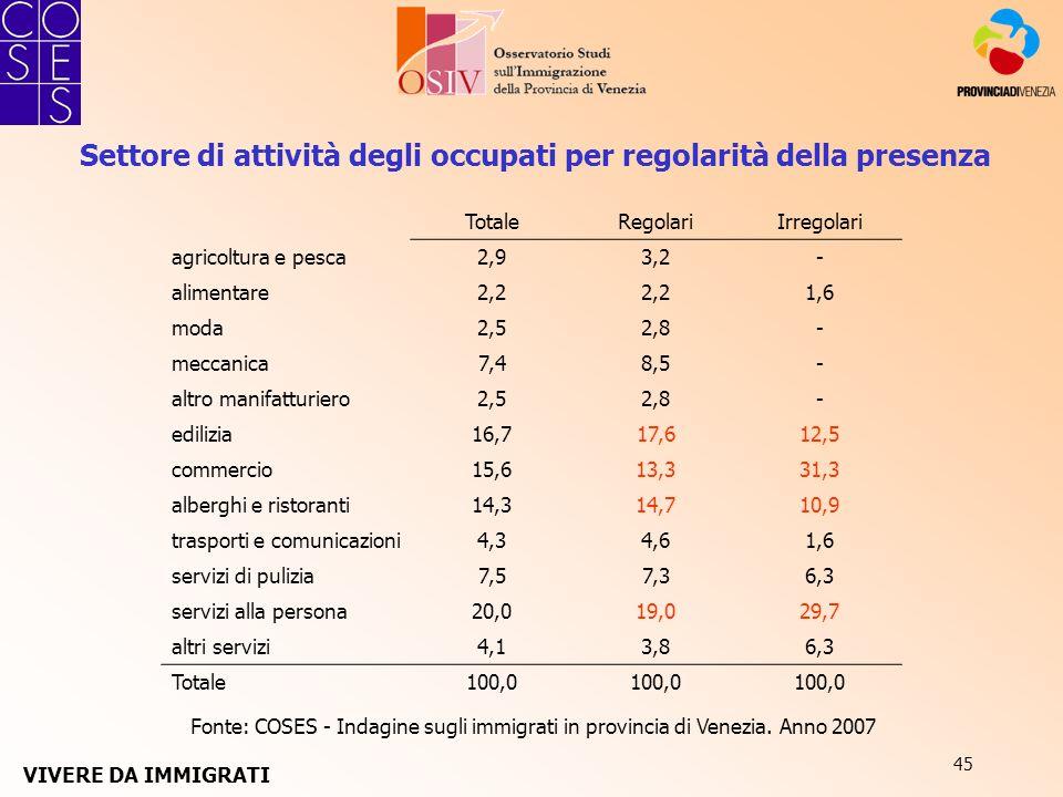 45 Fonte: COSES - Indagine sugli immigrati in provincia di Venezia. Anno 2007 Settore di attività degli occupati per regolarità della presenza TotaleR