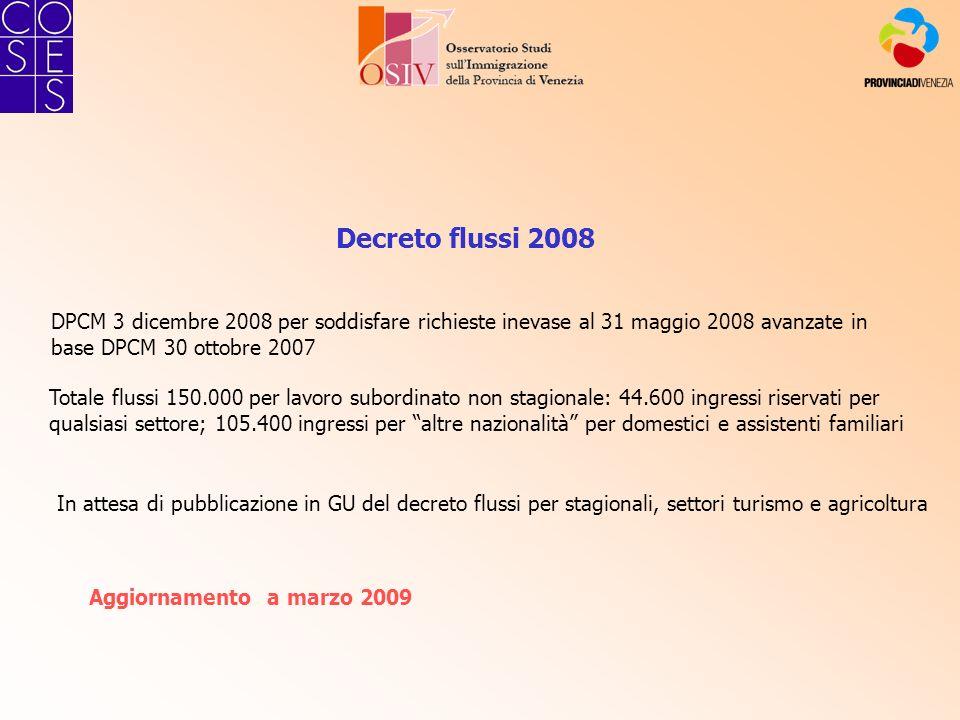 Decreto flussi 2008 DPCM 3 dicembre 2008 per soddisfare richieste inevase al 31 maggio 2008 avanzate in base DPCM 30 ottobre 2007 Totale flussi 150.00