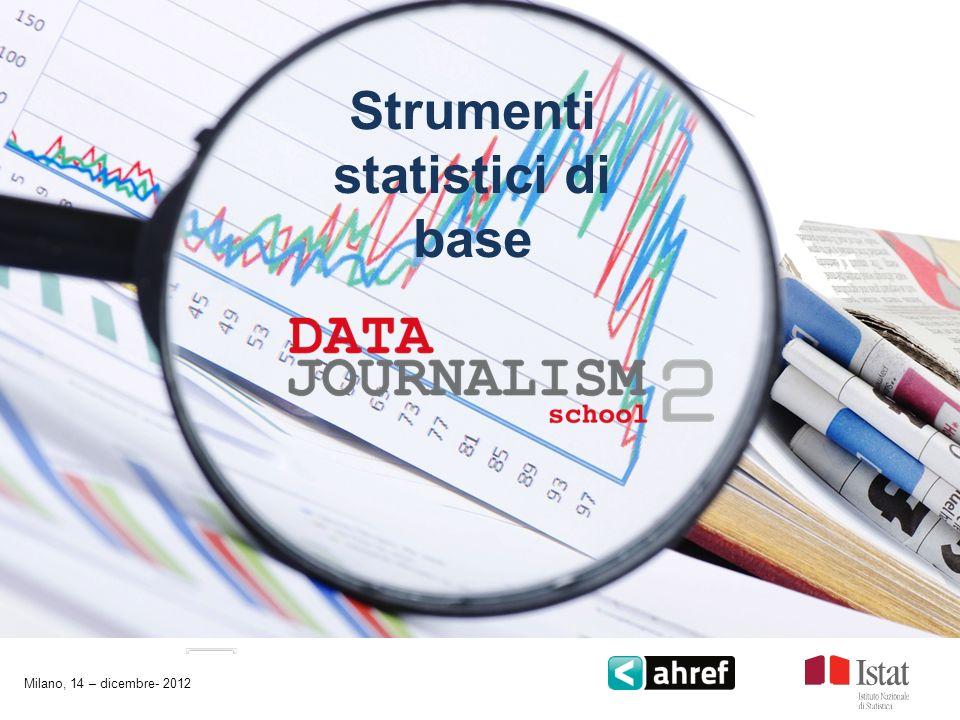 Strumenti statistici di base Milano, 14 – dicembre- 2012
