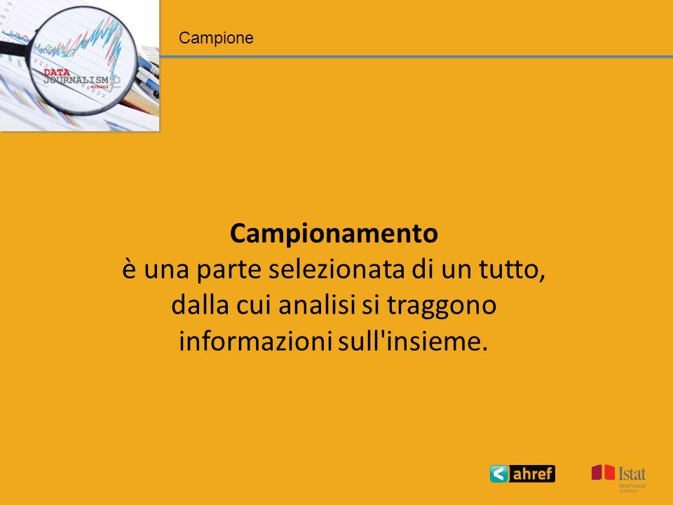 Campione Campionamento è una parte selezionata di un tutto, dalla cui analisi si traggono informazioni sull insieme.