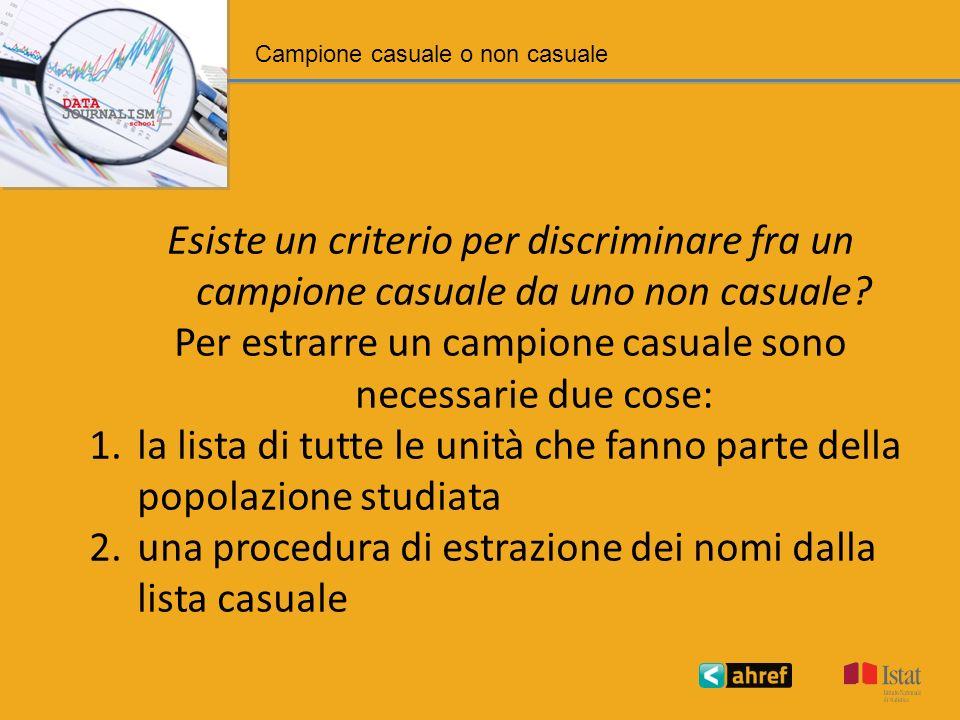 Campione casuale o non casuale Esiste un criterio per discriminare fra un campione casuale da uno non casuale.