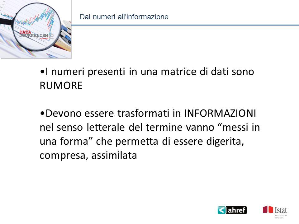 Dai numeri allinformazione I numeri presenti in una matrice di dati sono RUMORE Devono essere trasformati in INFORMAZIONI nel senso letterale del termine vanno messi in una forma che permetta di essere digerita, compresa, assimilata