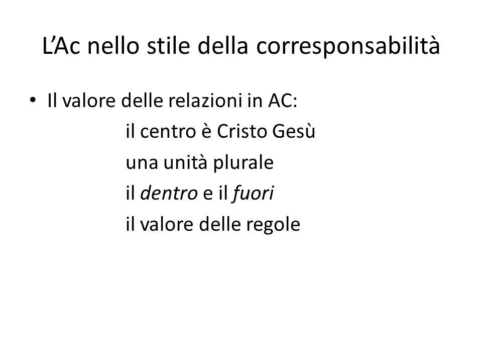 LAc nello stile della corresponsabilità Il valore delle relazioni in AC: il centro è Cristo Gesù una unità plurale il dentro e il fuori il valore delle regole