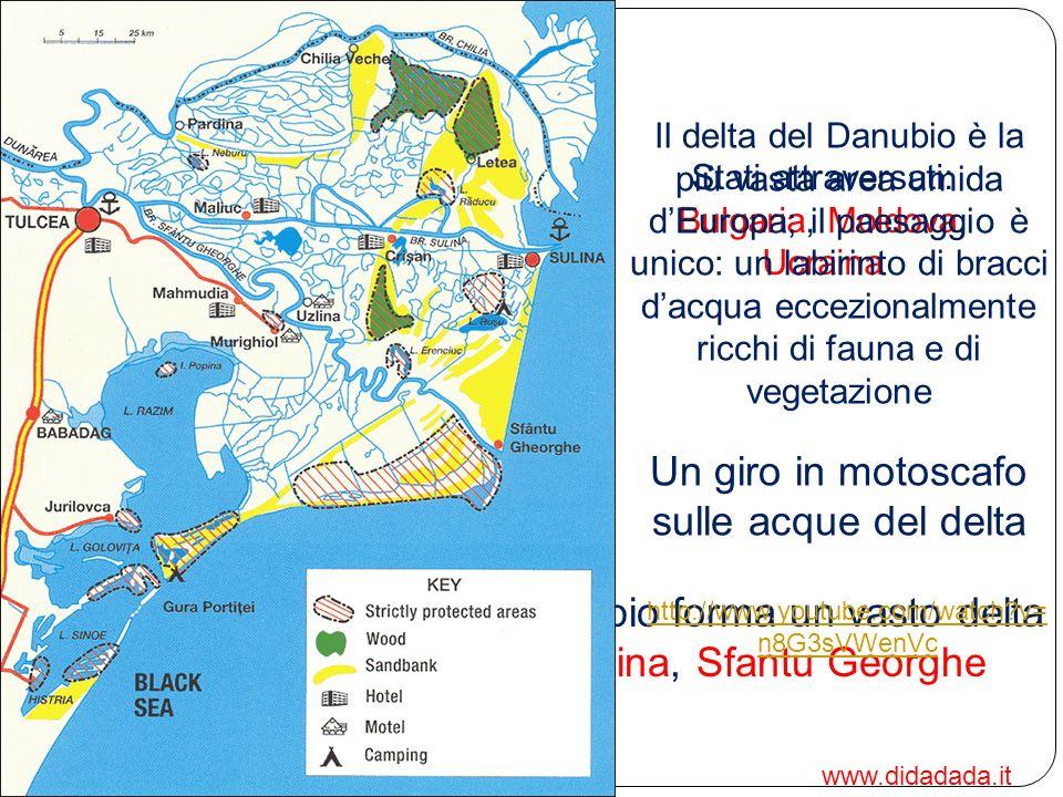 Basso corso: dalle Porte di Ferro al Mar nero Stati attraversati: Bulgaria, Moldova, Ucraina Sfociando nel mar Nero, il Danubio forma un vasto delta d