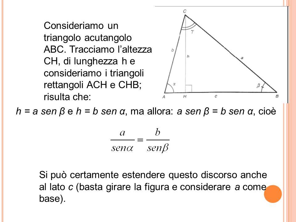 Si può certamente estendere questo discorso anche al lato c (basta girare la figura e considerare a come base). Consideriamo un triangolo acutangolo A