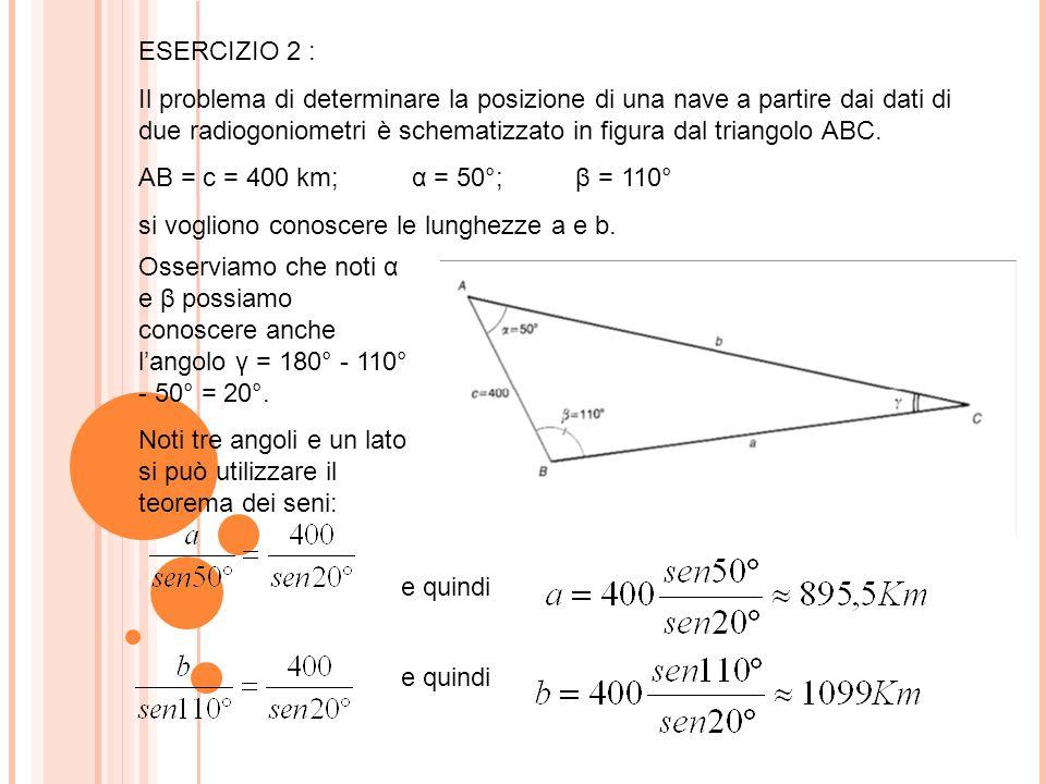 ESERCIZIO 2 : Il problema di determinare la posizione di una nave a partire dai dati di due radiogoniometri è schematizzato in figura dal triangolo ABC.