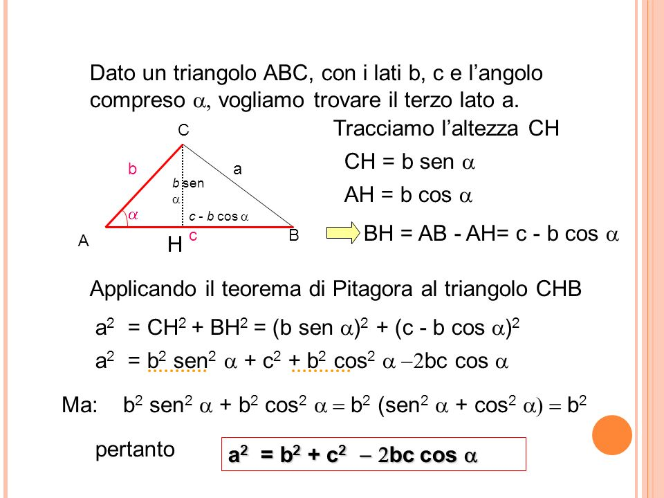 Dato un triangolo ABC, con i lati b, c e langolo compreso vogliamo trovare il terzo lato a. Tracciamo laltezza CH CH = b sen AH = b cos BH = AB - AH=
