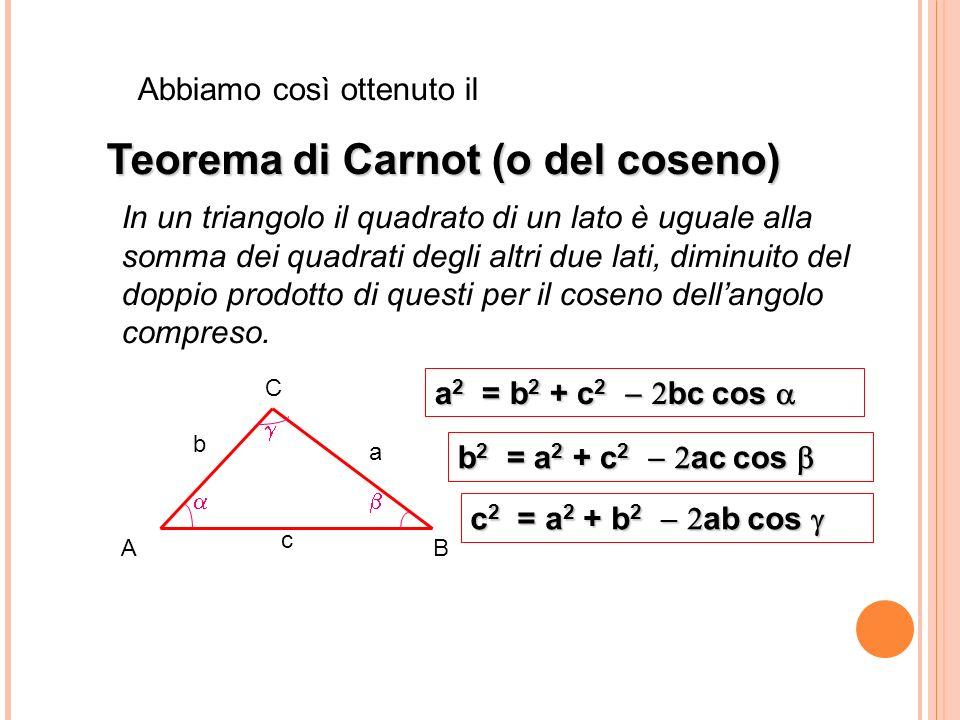 Abbiamo così ottenuto il Teorema di Carnot (o del coseno) In un triangolo il quadrato di un lato è uguale alla somma dei quadrati degli altri due lati, diminuito del doppio prodotto di questi per il coseno dellangolo compreso.