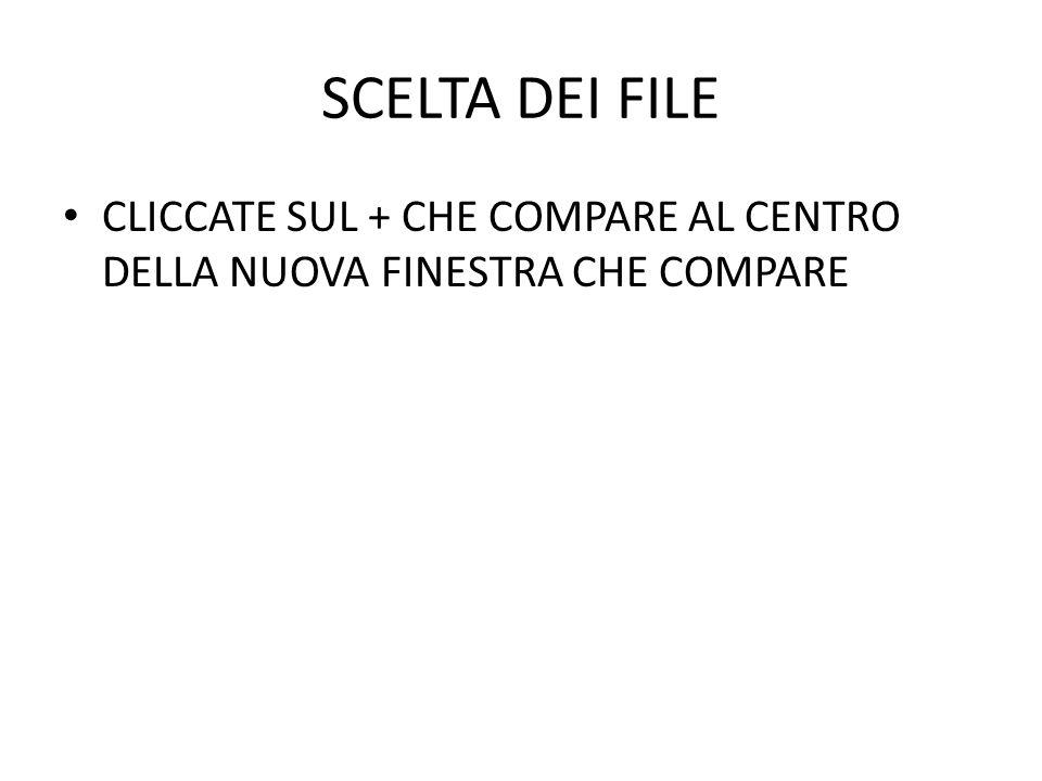 SCELTA DEI FILE CLICCATE SUL + CHE COMPARE AL CENTRO DELLA NUOVA FINESTRA CHE COMPARE