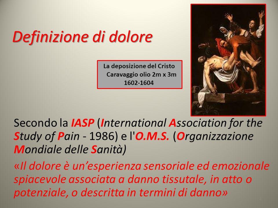 Definizione di dolore Secondo la IASP (International Association for the Study of Pain - 1986) e l'O.M.S. (Organizzazione Mondiale delle Sanità) «Il d