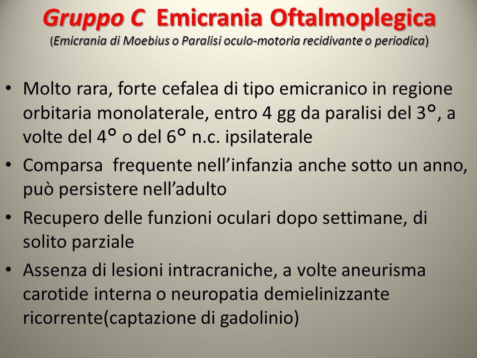 Gruppo C Emicrania Oftalmoplegica ( Emicrania di Moebius o Paralisi oculo-motoria recidivante o periodica) Molto rara, forte cefalea di tipo emicranic
