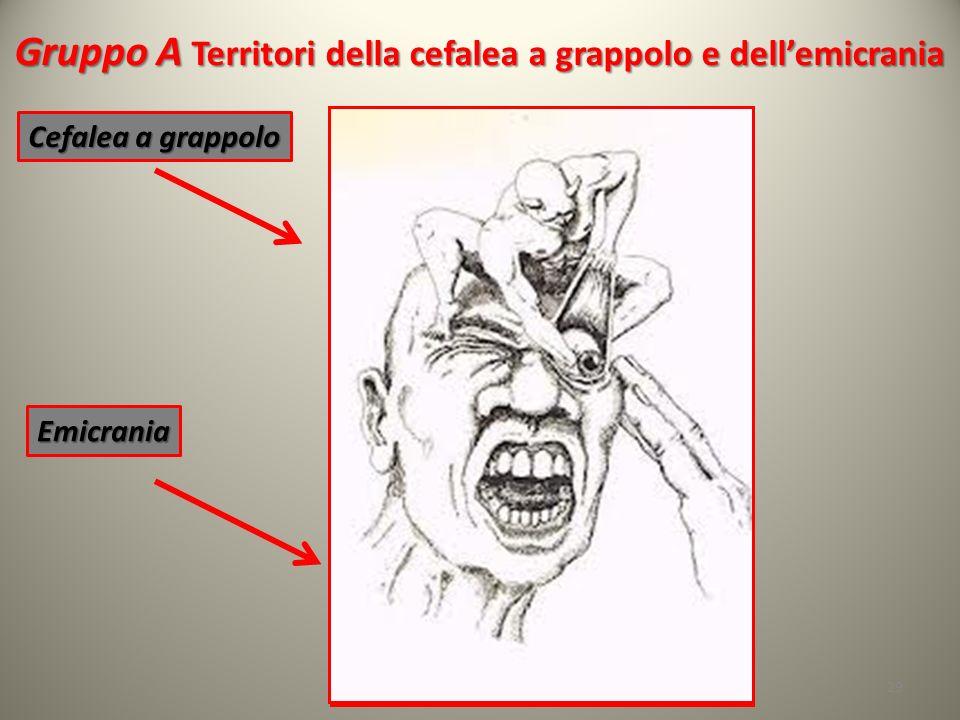 Gruppo A Territori della cefalea a grappolo e dellemicrania 29 Cefalea a grappolo Emicrania