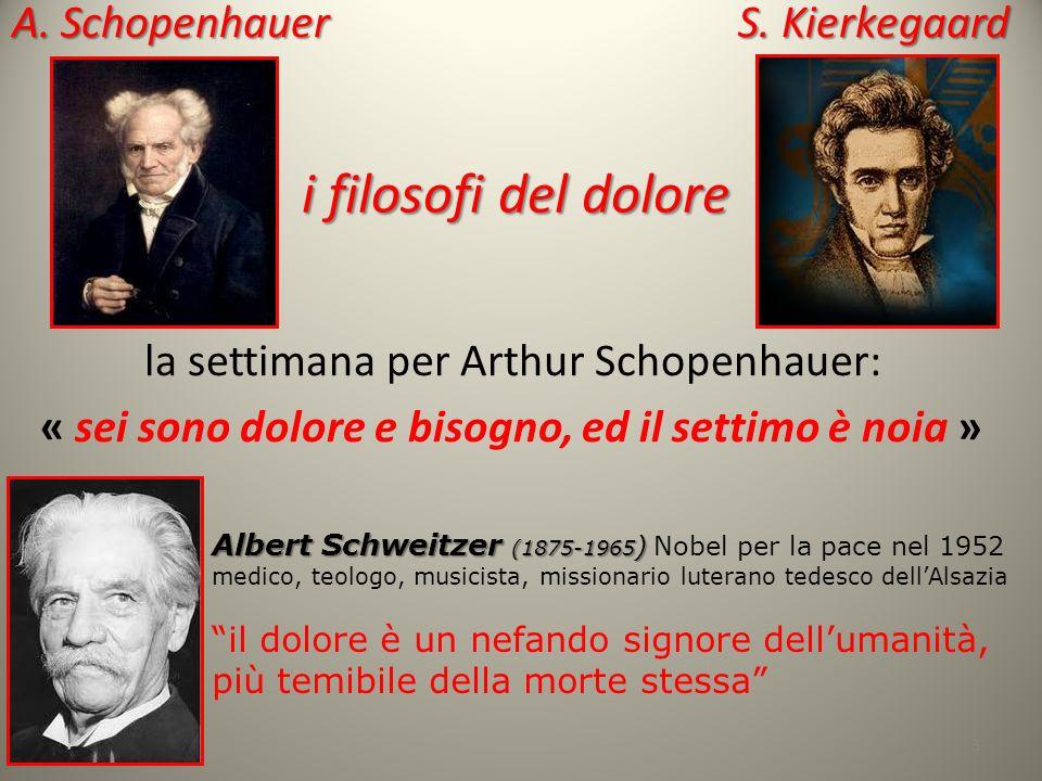 la settimana per Arthur Schopenhauer: « sei sono dolore e bisogno, ed il settimo è noia » 3 A. Schopenhauer S. Kierkegaard Albert Schweitzer (1875-196