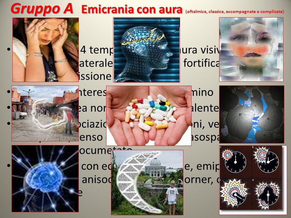 Gruppo A Emicrania con aura Gruppo A Emicrania con aura (oftalmica, classica, accompagnata o complicata) Emicrania in 4 tempi: prodromi, aura visiva m