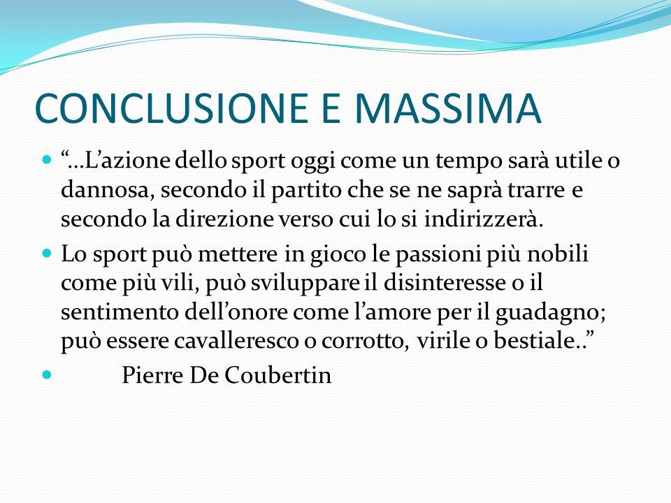CONCLUSIONE E MASSIMA …Lazione dello sport oggi come un tempo sarà utile o dannosa, secondo il partito che se ne saprà trarre e secondo la direzione verso cui lo si indirizzerà.