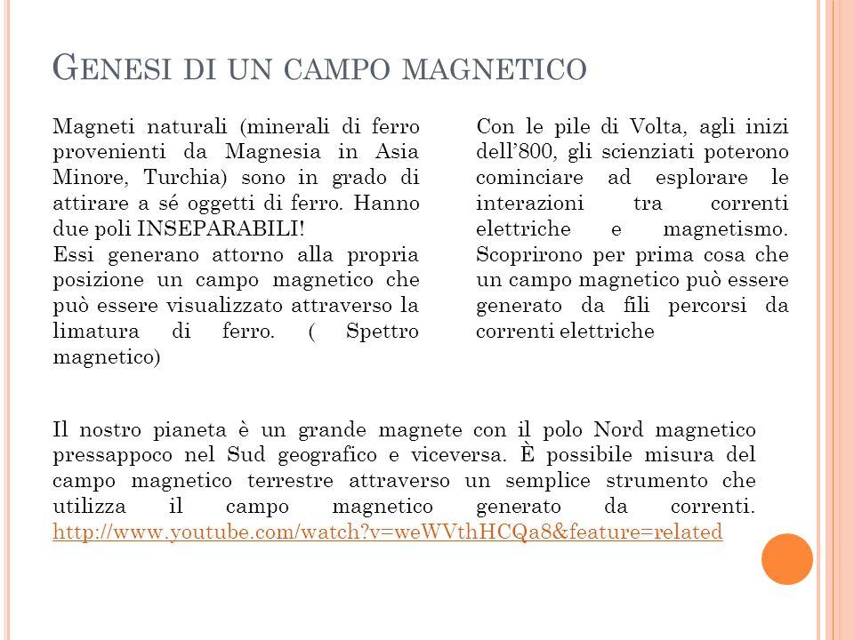 G ENESI DI UN CAMPO MAGNETICO Magneti naturali (minerali di ferro provenienti da Magnesia in Asia Minore, Turchia) sono in grado di attirare a sé oggetti di ferro.