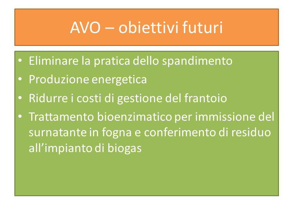 AVO – obiettivi futuri Eliminare la pratica dello spandimento Produzione energetica Ridurre i costi di gestione del frantoio Trattamento bioenzimatico
