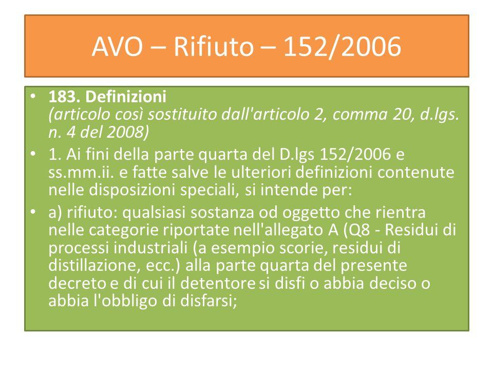 AVO – Rifiuto – 152/2006 183. Definizioni (articolo così sostituito dall'articolo 2, comma 20, d.lgs. n. 4 del 2008) 1. Ai fini della parte quarta del