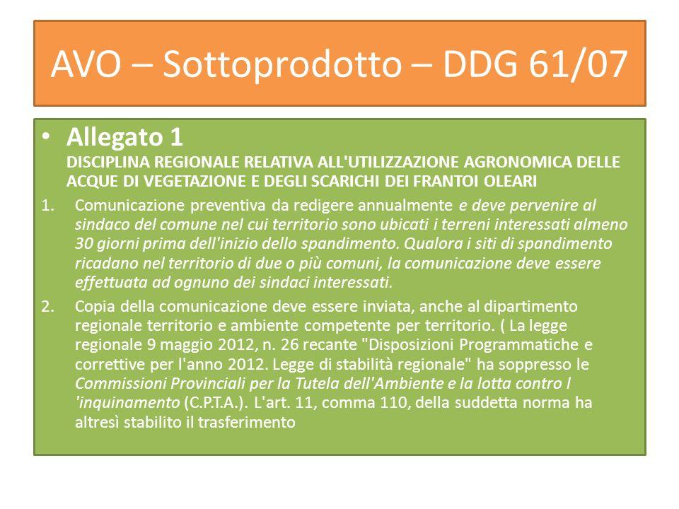 AVO – Sottoprodotto – DDG 61/07 Allegato 1 DISCIPLINA REGIONALE RELATIVA ALL'UTILIZZAZIONE AGRONOMICA DELLE ACQUE DI VEGETAZIONE E DEGLI SCARICHI DEI