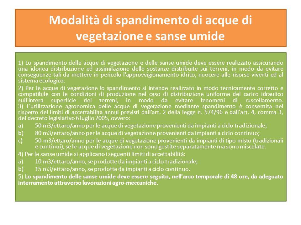 Modalità di spandimento di acque di vegetazione e sanse umide 1) Lo spandimento delle acque di vegetazione e delle sanse umide deve essere realizzato
