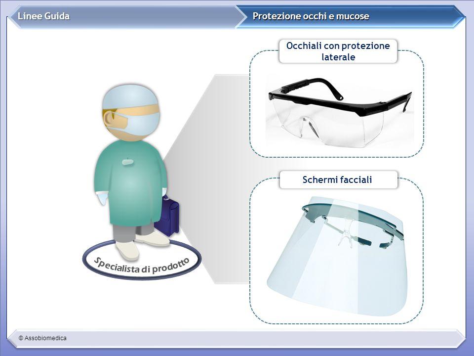 © Assobiomedica Protezione occhi e mucose Linee Guida Occhiali con protezione laterale Schermi facciali
