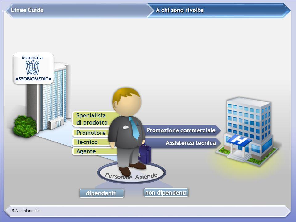 © Assobiomedica dipendenti A chi sono rivolte Linee Guida Promozione commerciale Assistenza tecnica Promotore Tecnico Agente Specialista di prodotto S