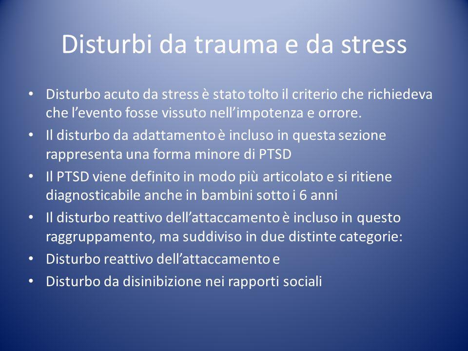 Disturbo acuto da stress è stato tolto il criterio che richiedeva che levento fosse vissuto nellimpotenza e orrore. Il disturbo da adattamento è inclu