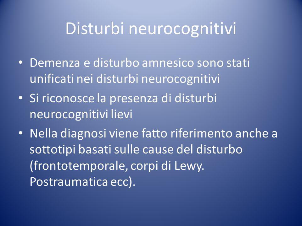 Demenza e disturbo amnesico sono stati unificati nei disturbi neurocognitivi Si riconosce la presenza di disturbi neurocognitivi lievi Nella diagnosi