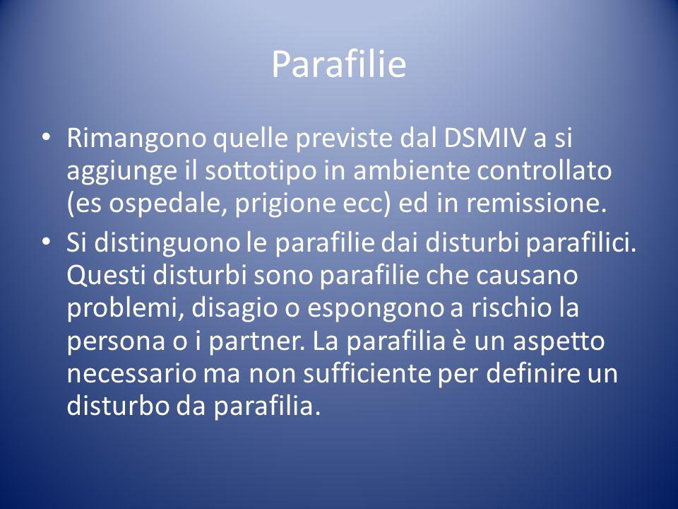 Rimangono quelle previste dal DSMIV a si aggiunge il sottotipo in ambiente controllato (es ospedale, prigione ecc) ed in remissione. Si distinguono le