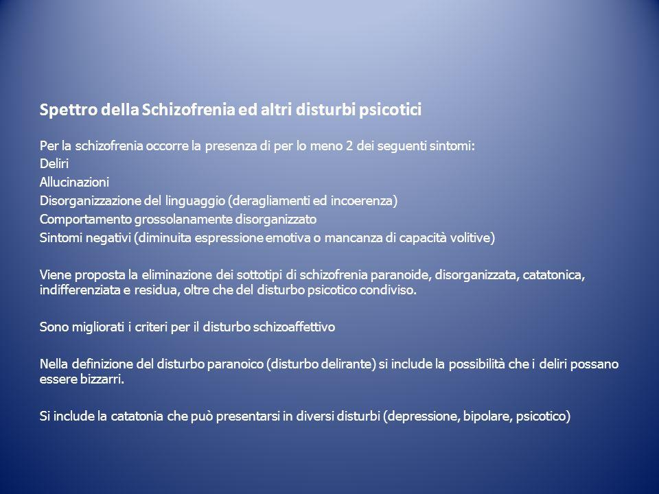 Per la schizofrenia occorre la presenza di per lo meno 2 dei seguenti sintomi: Deliri Allucinazioni Disorganizzazione del linguaggio (deragliamenti ed
