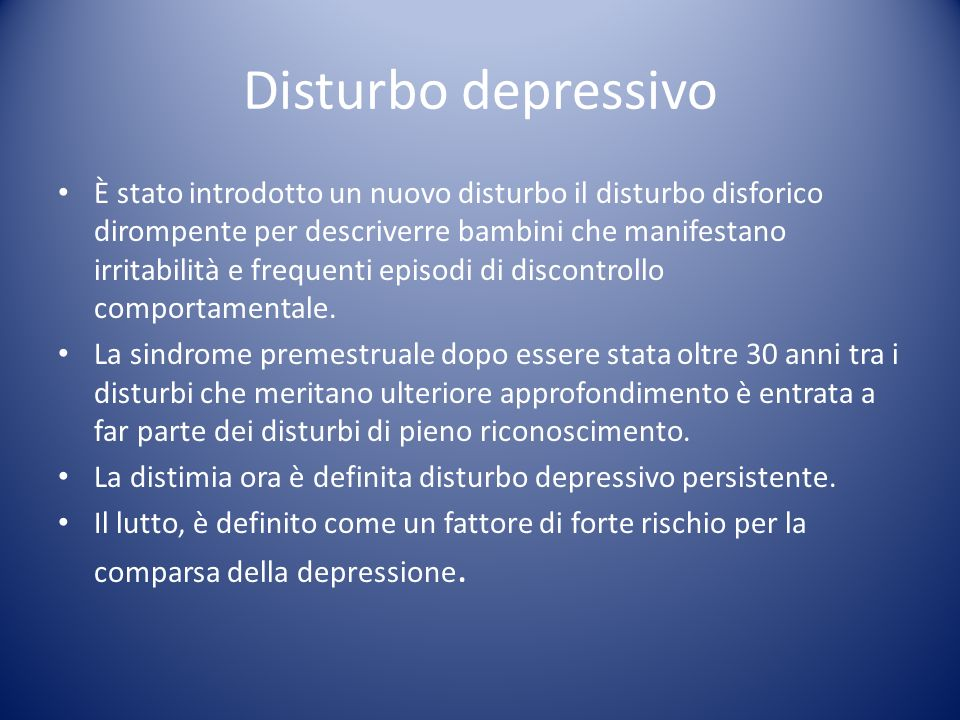 Non include più il disturbo ossessivo compulsivo o il disturbo post traumatico da stress (PTSD) entrambi sono andati a fare parte di categorie diverse.