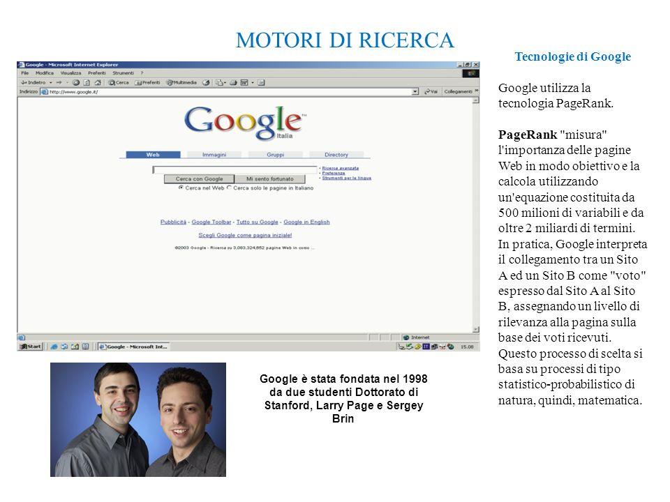 6 MOTORI DI RICERCA Tecnologie di Google Google utilizza la tecnologia PageRank.