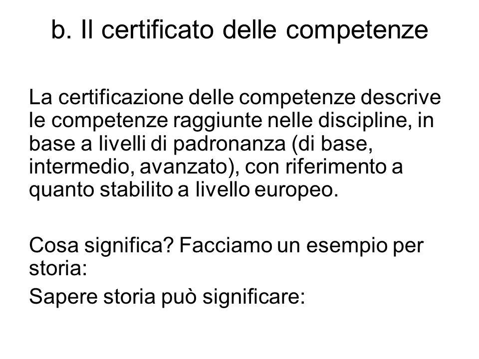 b. Il certificato delle competenze La certificazione delle competenze descrive le competenze raggiunte nelle discipline, in base a livelli di padronan