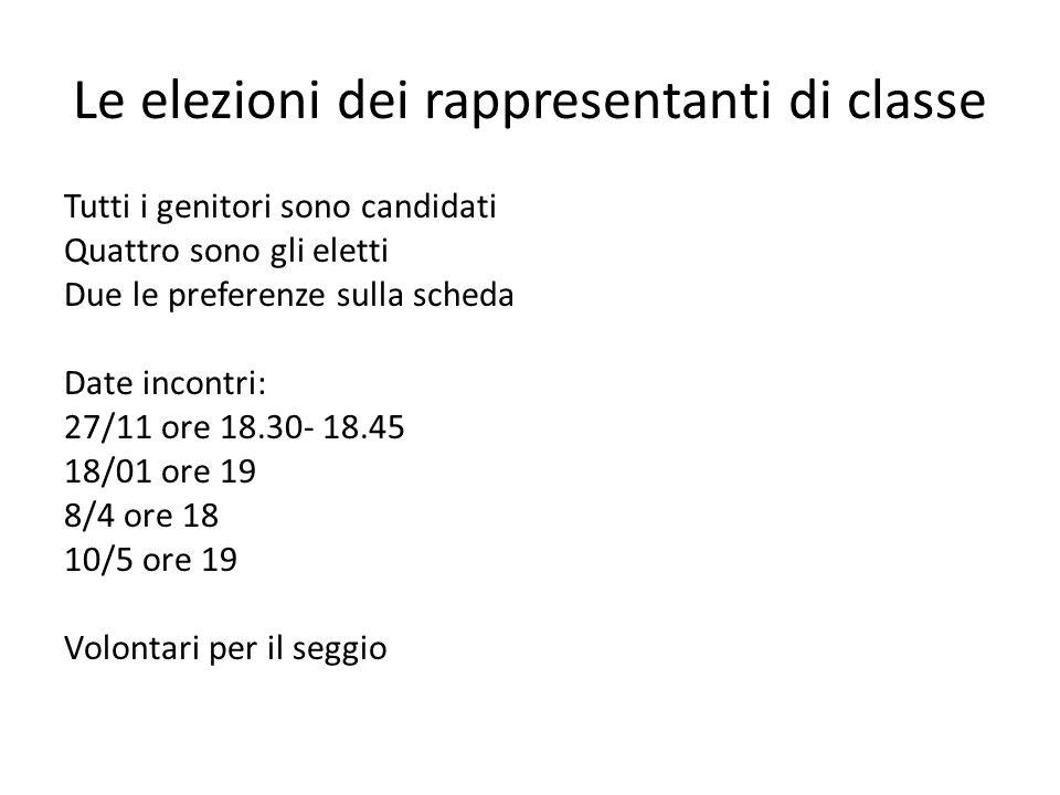 Le elezioni dei rappresentanti di classe Tutti i genitori sono candidati Quattro sono gli eletti Due le preferenze sulla scheda Date incontri: 27/11 o