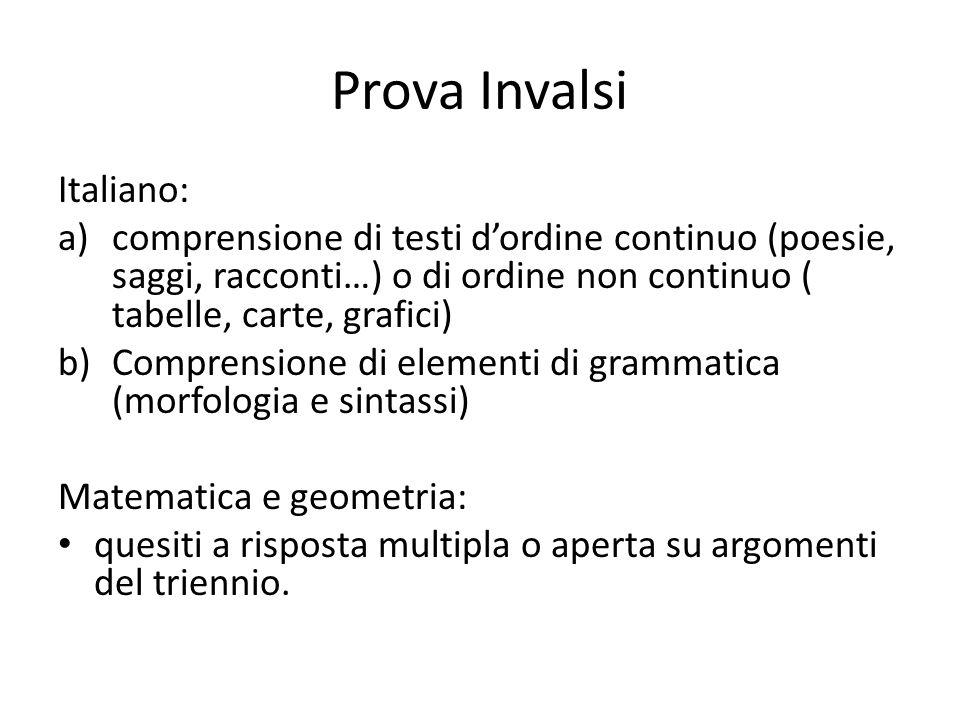 Prova Invalsi Italiano: a)comprensione di testi dordine continuo (poesie, saggi, racconti…) o di ordine non continuo ( tabelle, carte, grafici) b)Comp