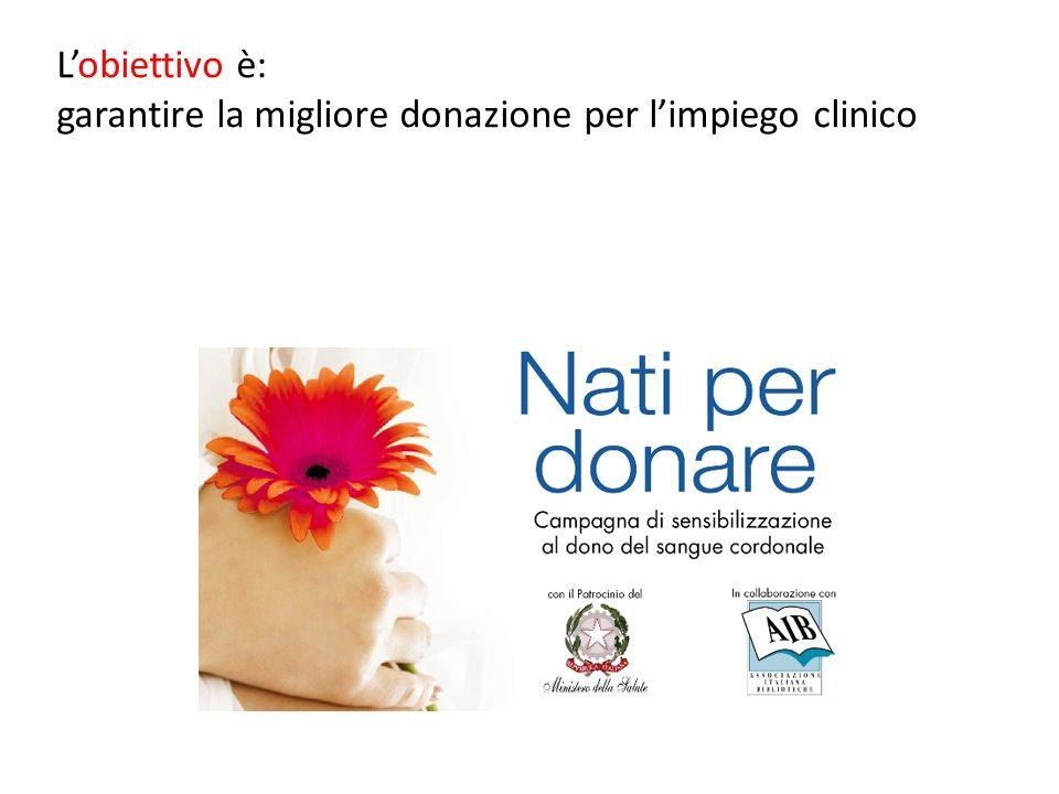 Lobiettivo è: garantire la migliore donazione per limpiego clinico