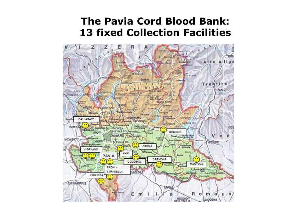 The Pavia Cord Blood Bank: 13 fixed Collection Facilities