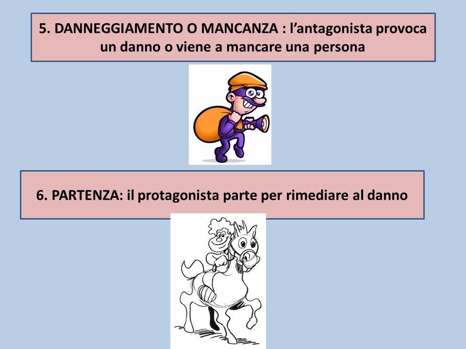 5.DANNEGGIAMENTO O MANCANZA : lantagonista provoca un danno o viene a mancare una persona 6.