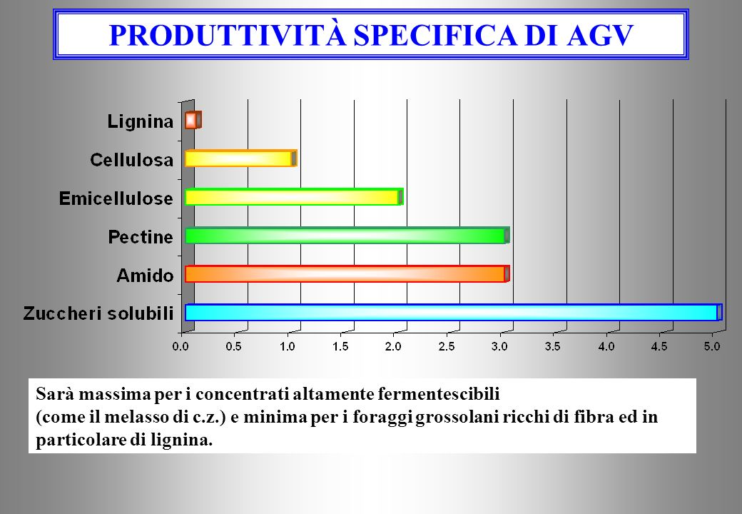 PRODUTTIVITÀ SPECIFICA DI AGV Sarà massima per i concentrati altamente fermentescibili (come il melasso di c.z.) e minima per i foraggi grossolani ricchi di fibra ed in particolare di lignina.