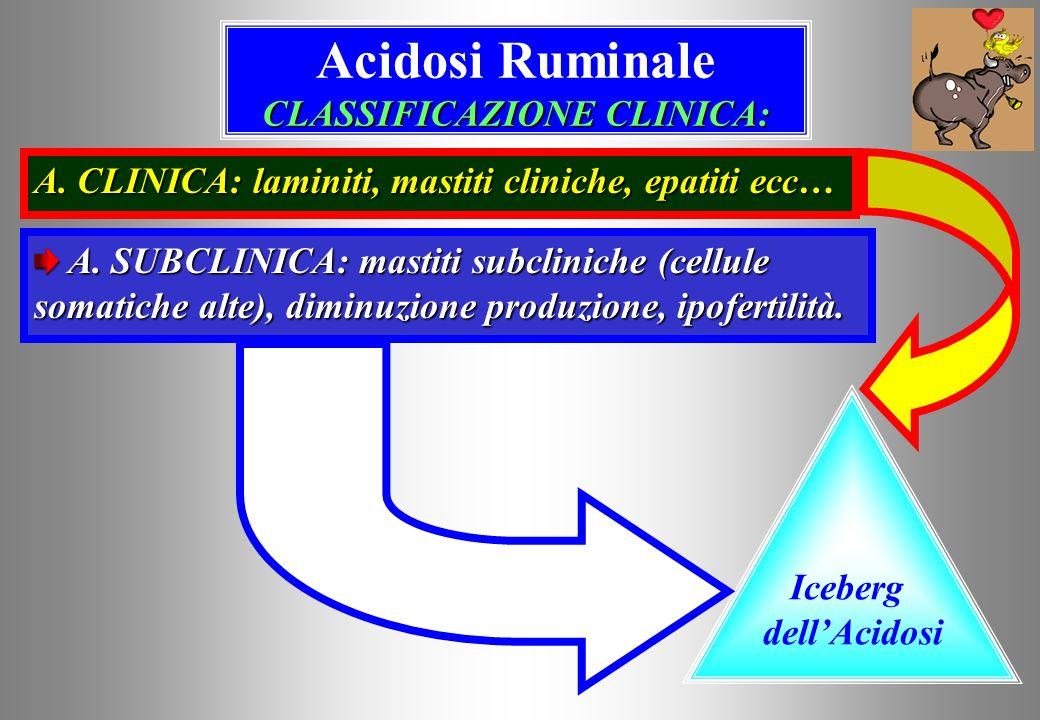 CLASSIFICAZIONE CLINICA: Acidosi Ruminale CLASSIFICAZIONE CLINICA: Iceberg dellAcidosi A.