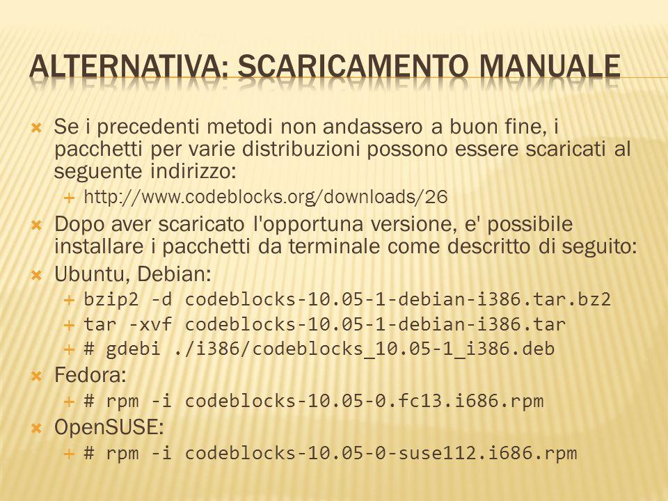 Se i precedenti metodi non andassero a buon fine, i pacchetti per varie distribuzioni possono essere scaricati al seguente indirizzo: http://www.codeb