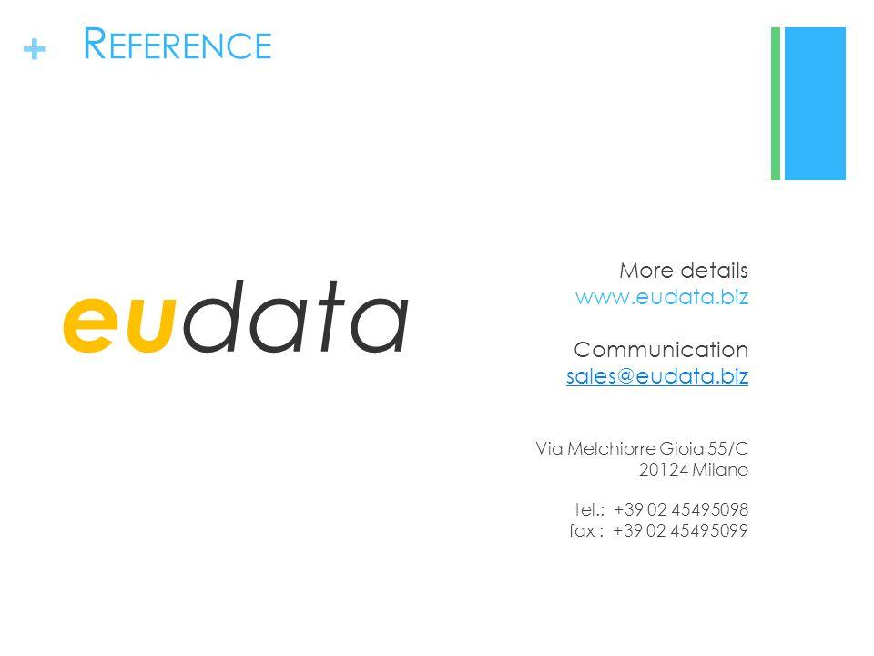 + R EFERENCE eu data More details www.eudata.biz Communication sales@eudata.biz sales@eudata.biz Via Melchiorre Gioia 55/C 20124 Milano tel.: +39 02 45495098 fax : +39 02 45495099