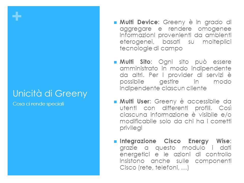 + Unicità di Greeny Multi Device : Greeny è in grado di aggregare e rendere omogenee informazioni provenienti da ambienti eterogenei, basati su molteplici tecnologie di campo Multi Sito : Ogni sito può essere amministrato in modo indipendente da altri.