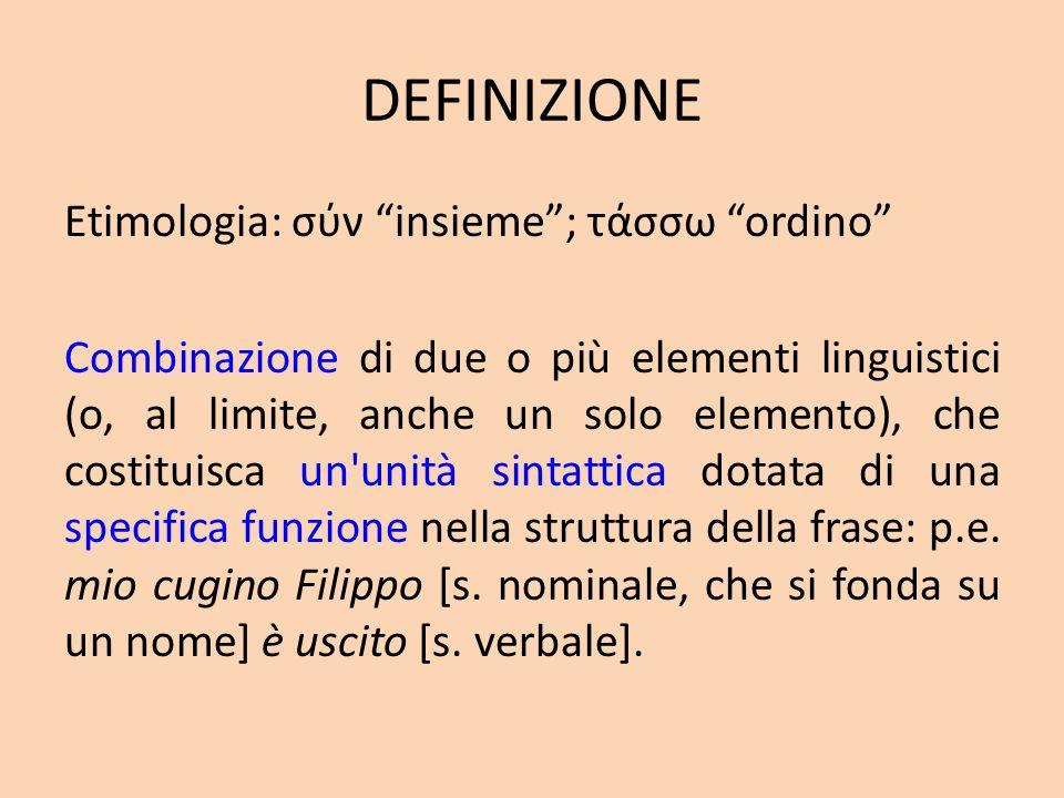 DEFINIZIONE Etimologia: σύν insieme; τάσσω ordino Combinazione di due o più elementi linguistici (o, al limite, anche un solo elemento), che costituis