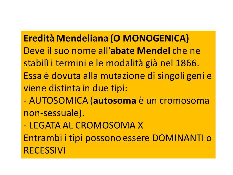 Eredità Mendeliana (O MONOGENICA) Deve il suo nome all'abate Mendel che ne stabilì i termini e le modalità già nel 1866. Essa è dovuta alla mutazione