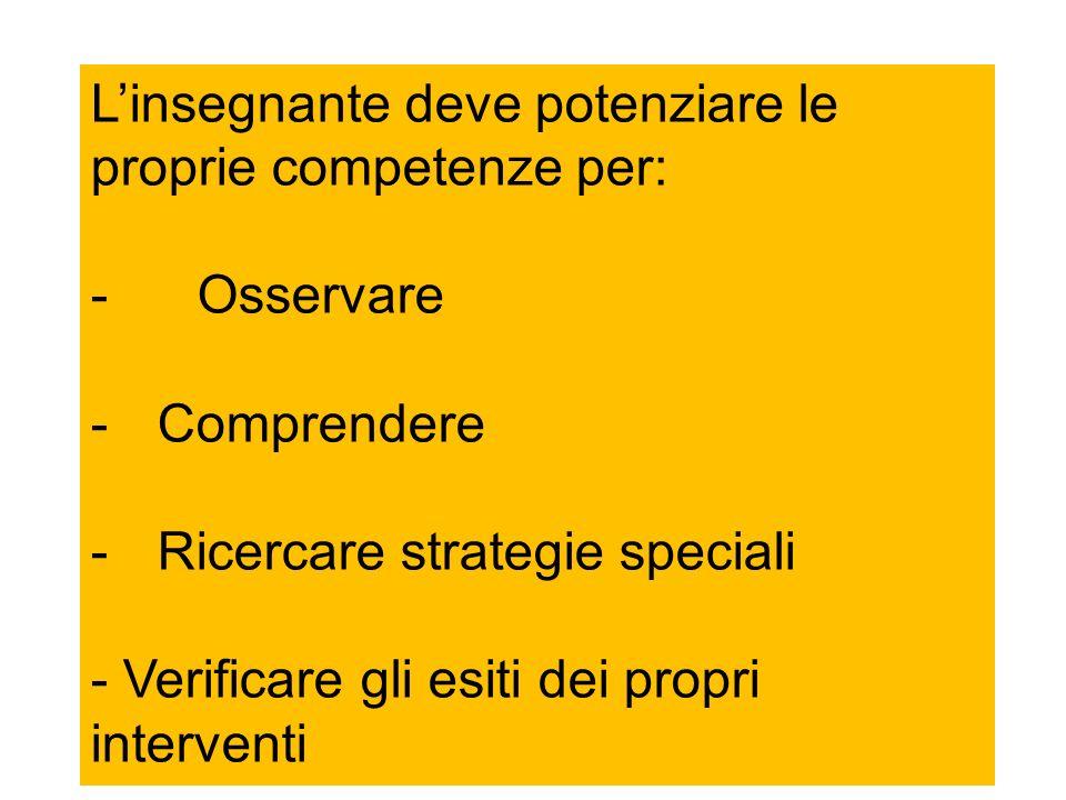 Linsegnante deve potenziare le proprie competenze per: -Osservare -Comprendere -Ricercare strategie speciali - Verificare gli esiti dei propri interve