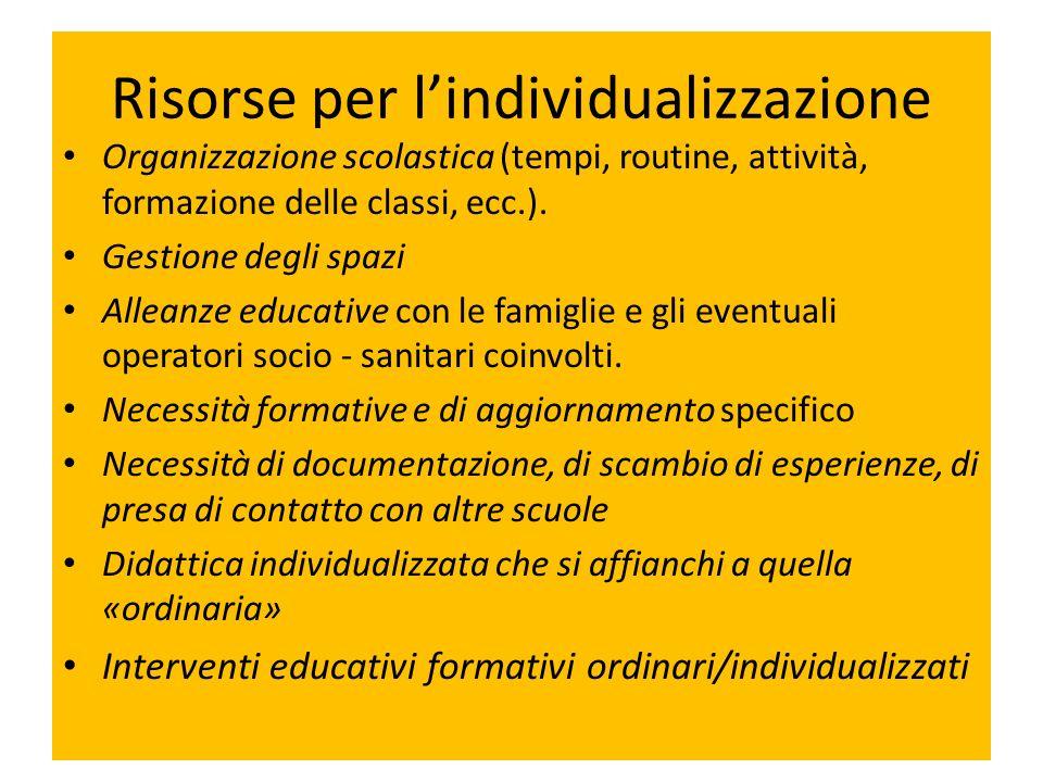 Risorse per lindividualizzazione Organizzazione scolastica (tempi, routine, attività, formazione delle classi, ecc.). Gestione degli spazi Alleanze ed