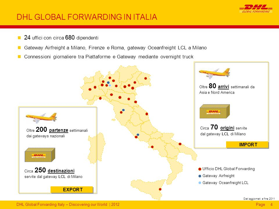 DHL Global Forwarding Italy – Discovering our World | 2012Page4 DHL GLOBAL FORWARDING IN ITALIA Circa 250 destinazioni servite dal gateway LCL di Mila